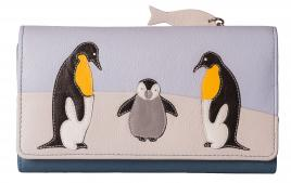 Ollie Penguin Large Leather Tri Fold Purse