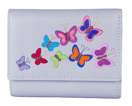 Harper Butterfly Leather Tri Fold Purse