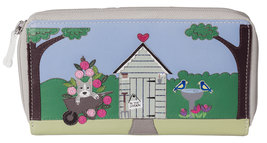 Beau's Garden Shed Zip Leather Dog  Round Purse