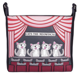 Cats the Meowsical Leather Cross Body Bag