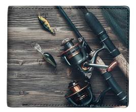 Kalmin Leather Printed Billfold Wallet Fishing