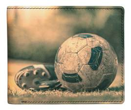 Kalmin Leather Printed Billfold Wallet Football